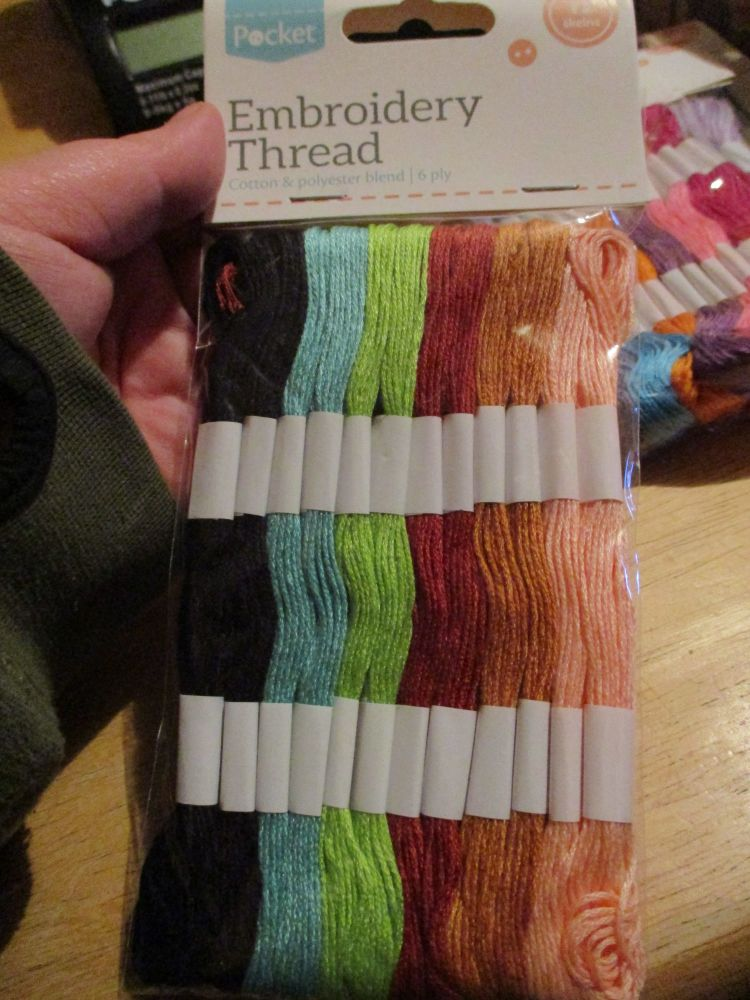Earthy Embroidery Thread cotton & Polyester blend 6ply 12 skeins