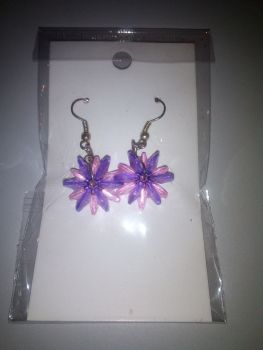 Purple Pink Starflake Bead Novelty Earrings