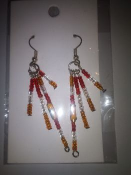 Red White Orange Seed Bead & Cloisonne Novelty Earrings