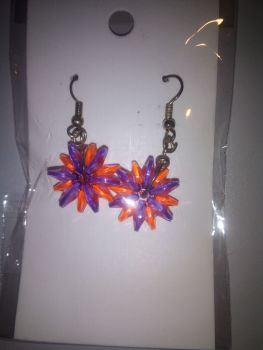 Orange Purple Starflake Bead Novelty Earrings