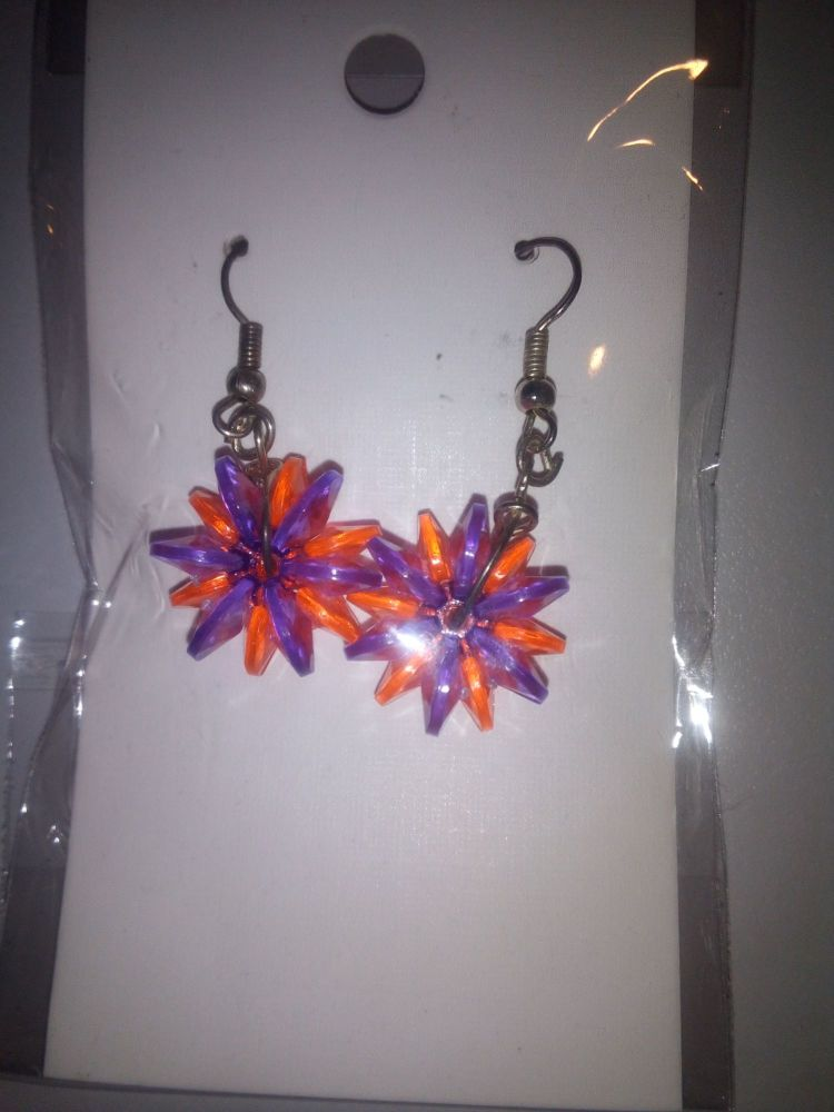 Orange Purple Starflake Bead Novelty Earrings