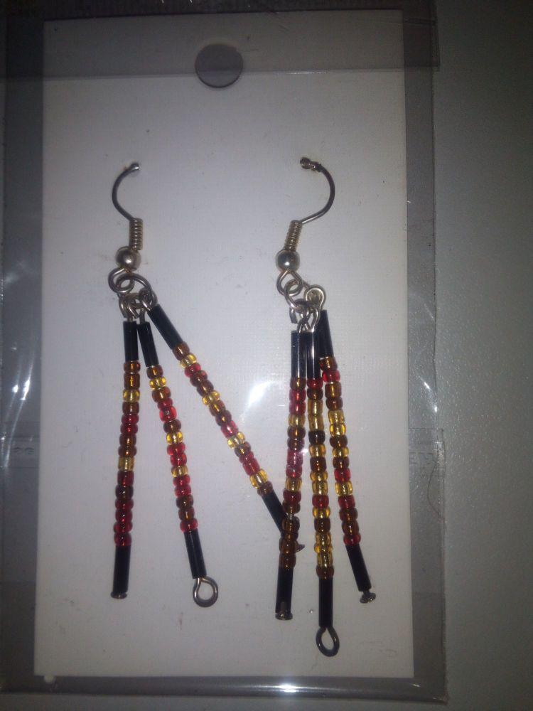 Black Red Brown Seed Bead Novelty Earrings