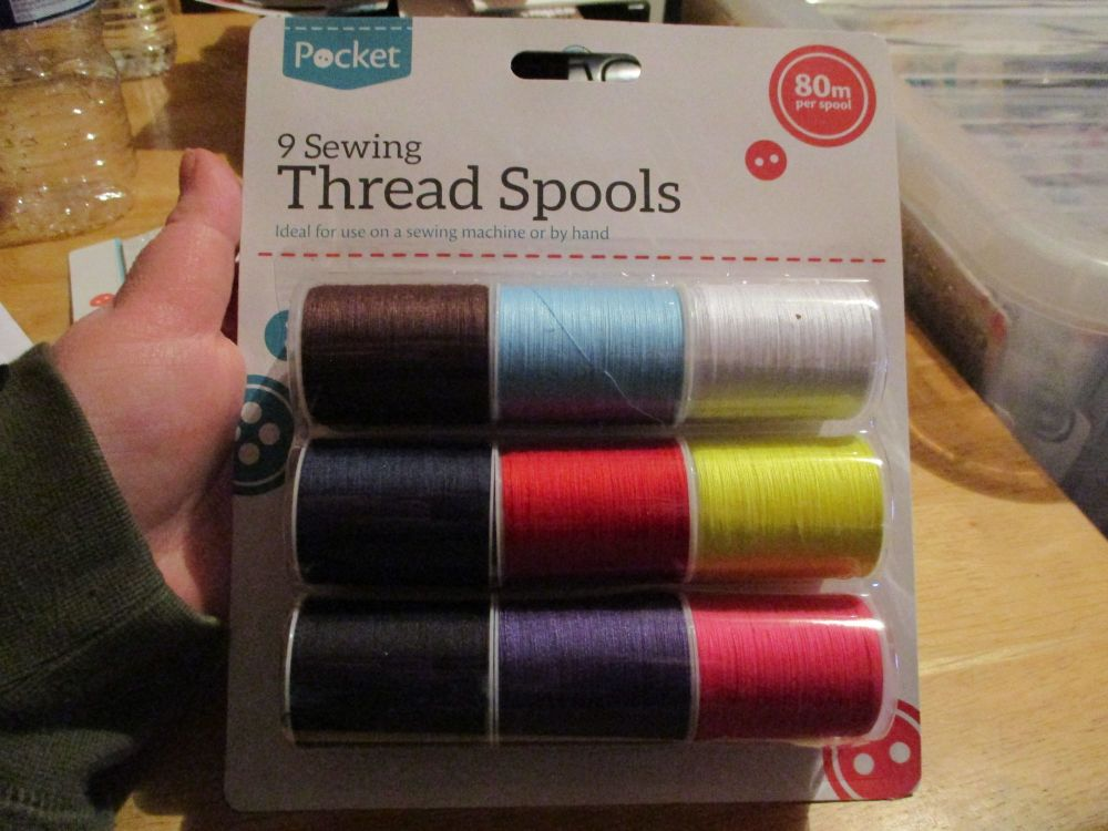 9 Sewing Thread Spools  - assorted colours - 80m per spool