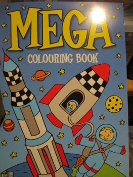Dark Blue with Rocket and Space Cover - Alligator Mega Colouring Book