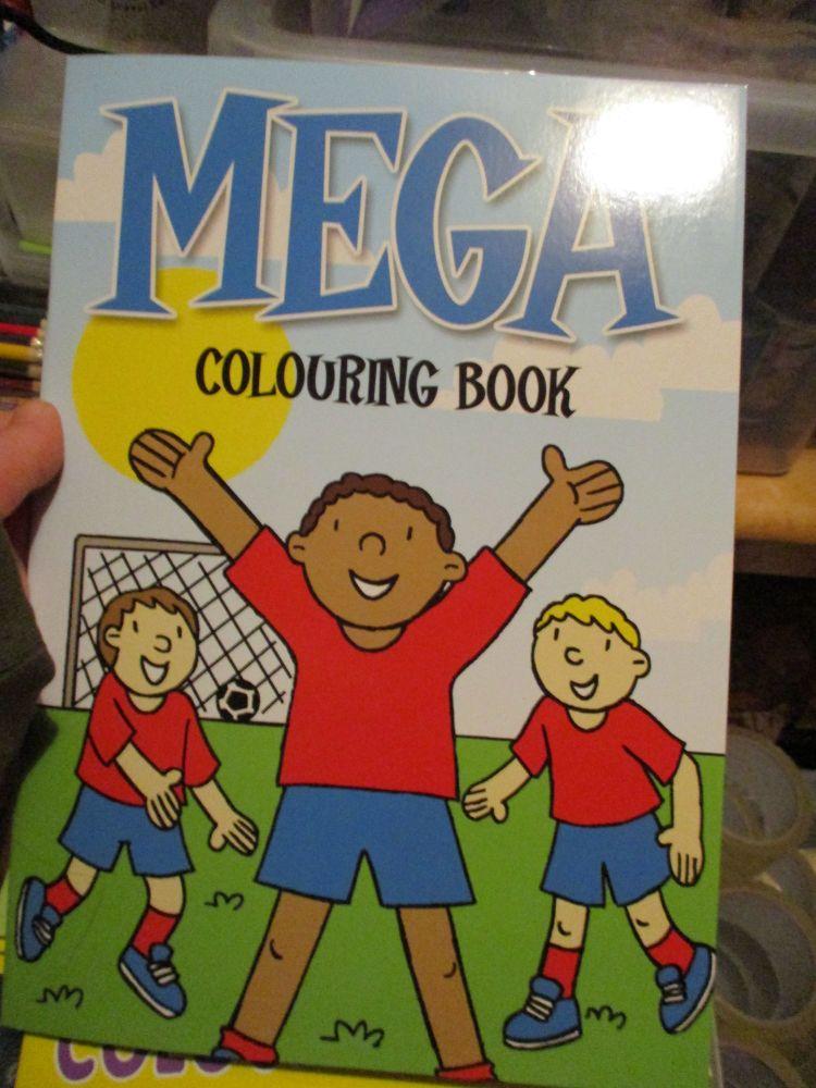 Light Blue with Football Scene Cover - Alligator Mega Colouring Book