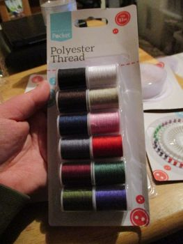 Polyester Thread Multicoloured  12 x 32m (small reels) individual colours