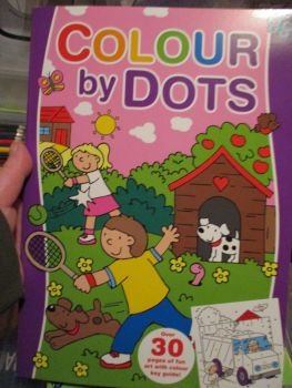 Purple Colour By Dots Colouring Book