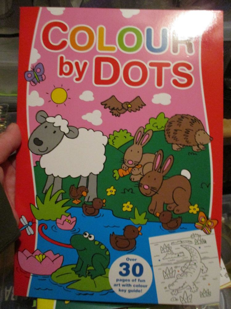 Red Colour By Dots Colouring Book