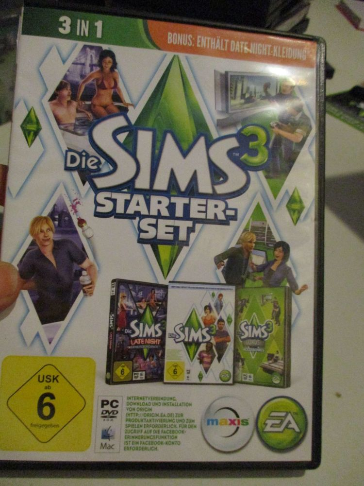 The Sims 3 Starter Set - Incs Base, Hi End Loft & Late Night (German) Pal PC DVD / Mac #FM0582