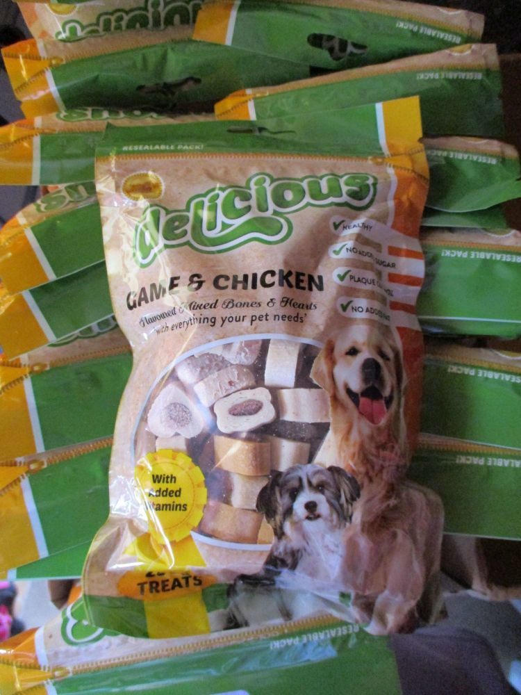 Delicious - Game & Chicken Flavoured Mixed Bones & Hearts Treats 250g