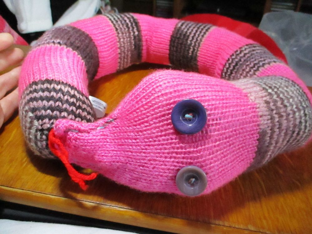 Hot Pink & Pink Purple Ringed Giant Snaked Knitted Soft Toy