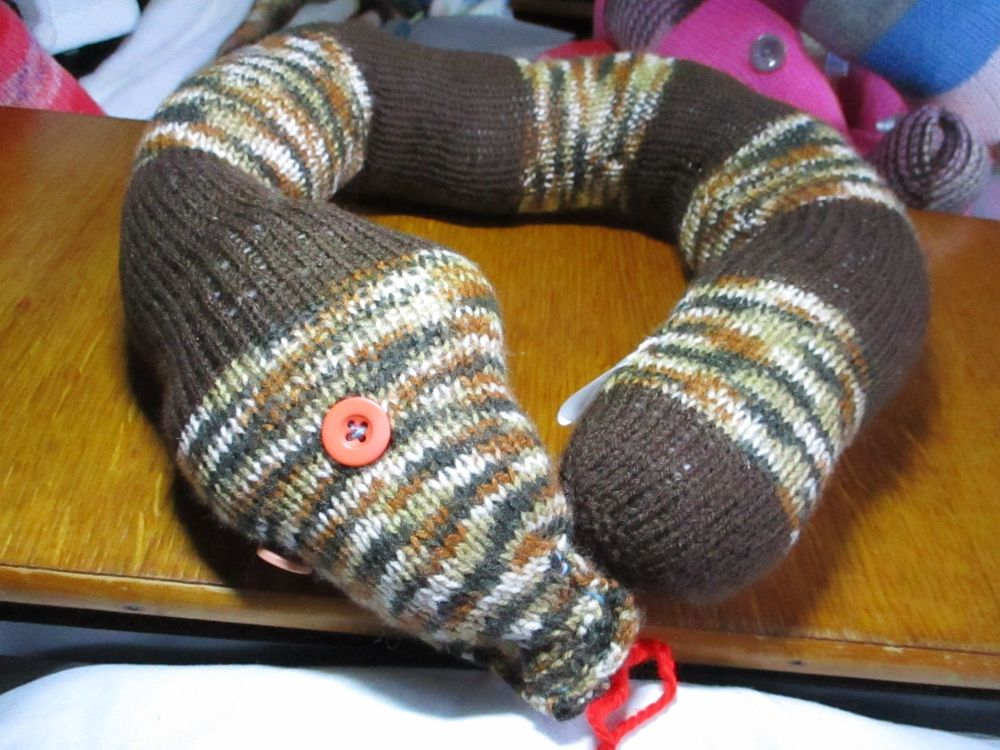 Brown Rainbow & Dark Brown Solid Giant Snaked Knitted Soft Toy