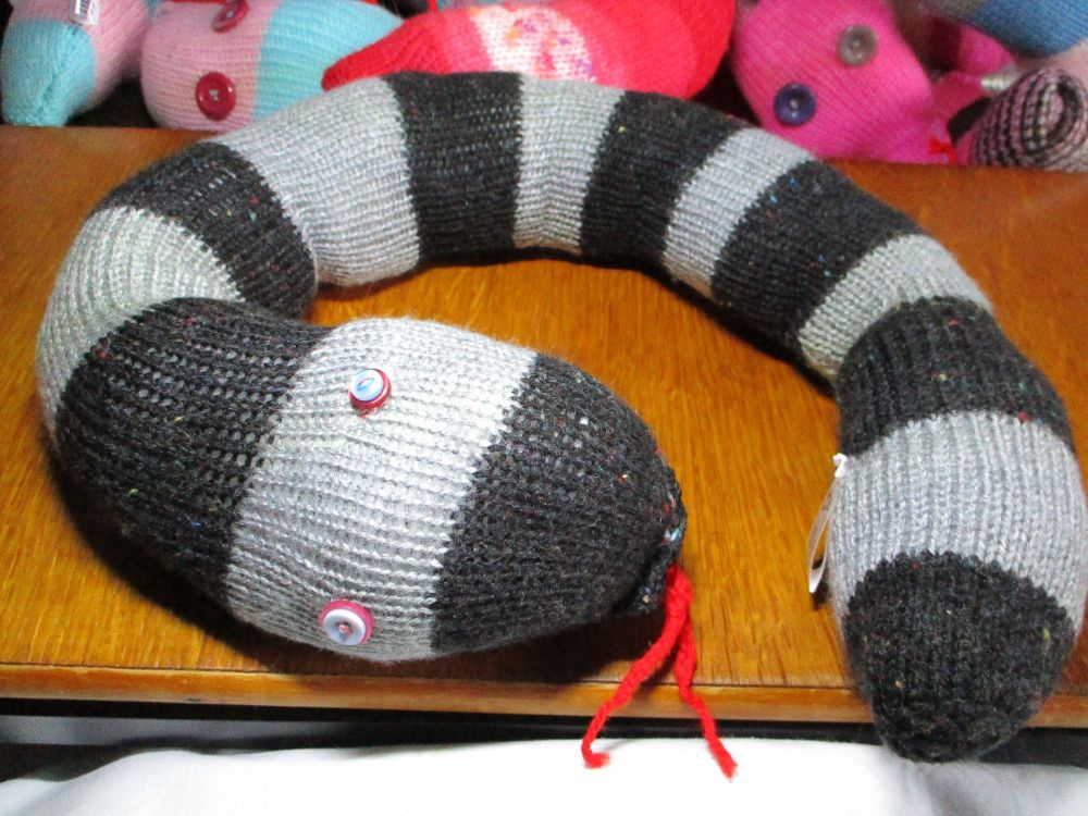 Black Speckled & Grey Banded Giant Snaked Knitted Soft Toy