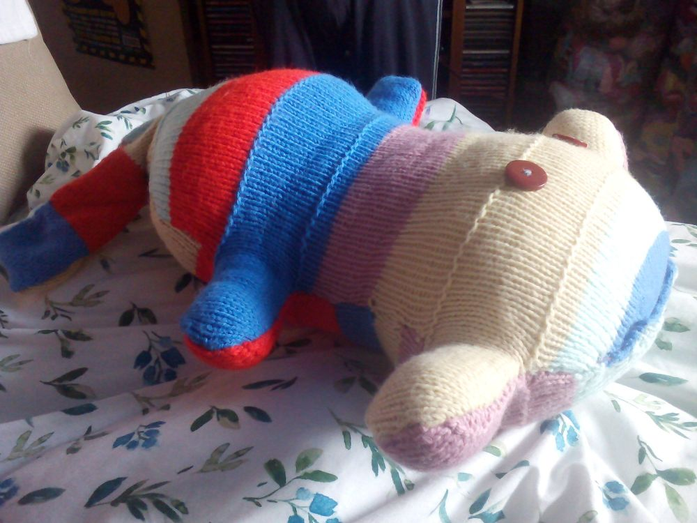 Red, Mid Blue, Mint Green, Mauve, Cream Giant Scuttlecat Knitted Soft Toy