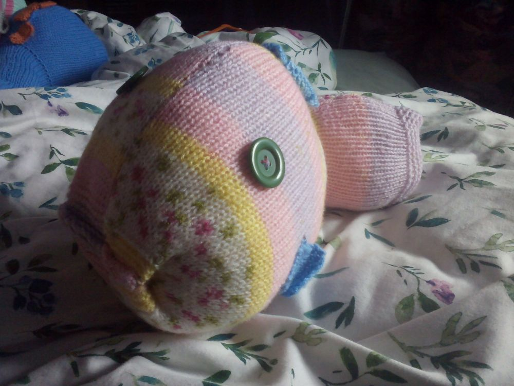 Pink and Yellow Floral Patterned Giant Fish Blue Fins Green Eyes Knitted So