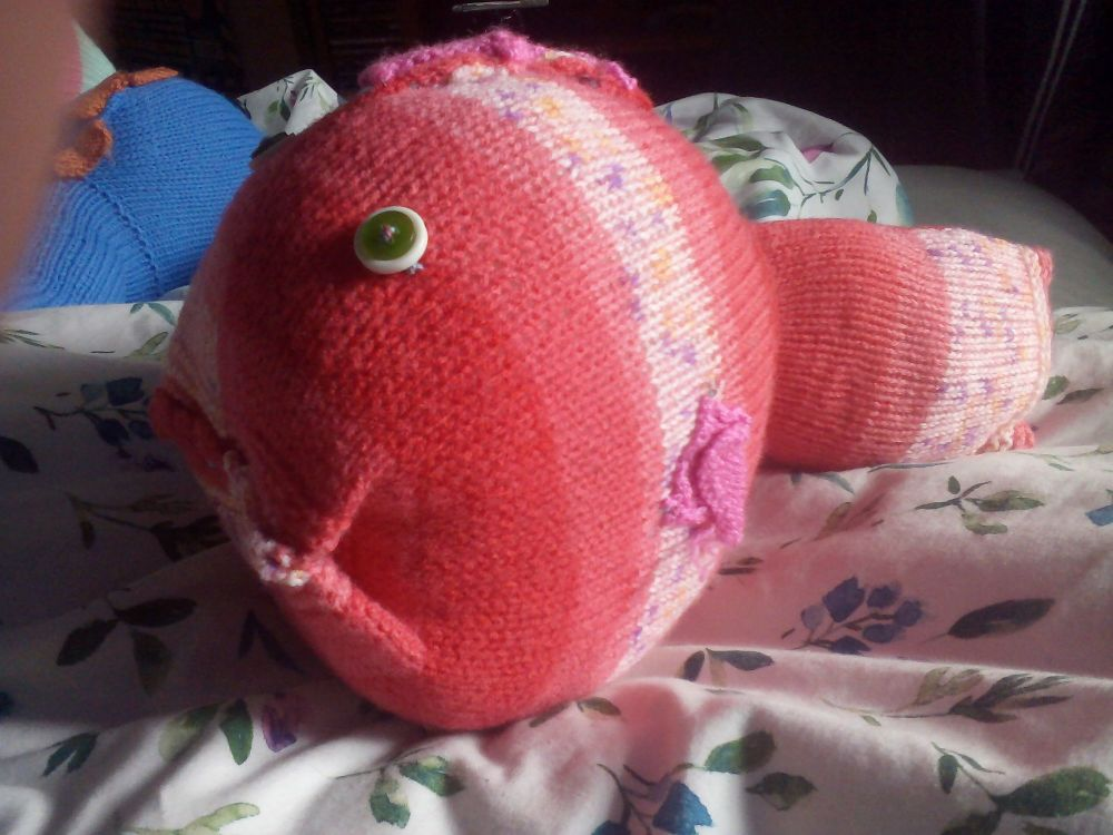 Red Floral Patterned Giant Fish Green White Eyes Pink Fins Knitted Soft Toy