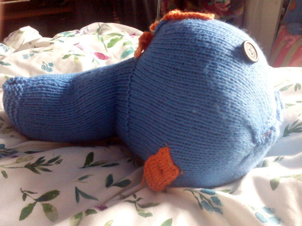 Mid Blue Giant Fish Black Eyes Orange Fins Knitted Soft Toy