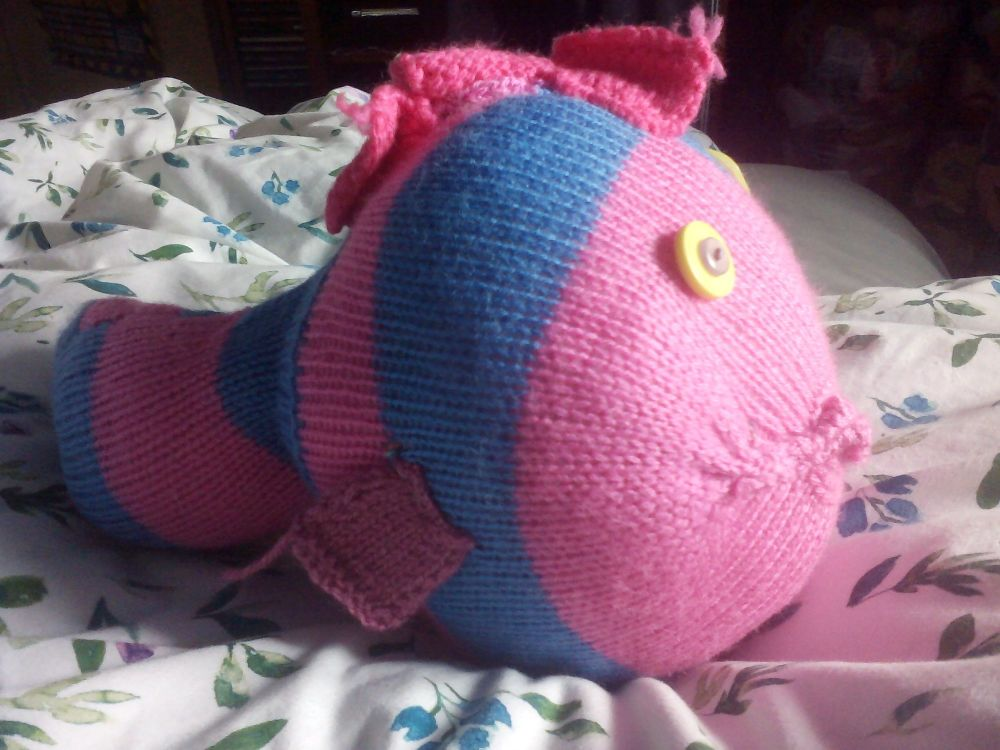Mid Blue And Pink Striped Giant Fish Pink Glitter Eyes Pink Fins Knitted Soft Toy