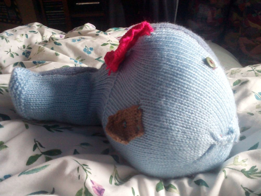 Dual Tone Blue Giant Fish Green Eyes Pink And Brown Fins Knitted Soft Toy