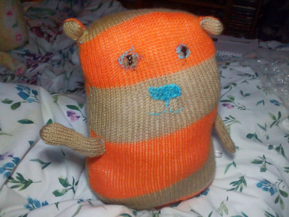Orange & Brown Striped Giant Cat Soft Toy - Embroidered Features