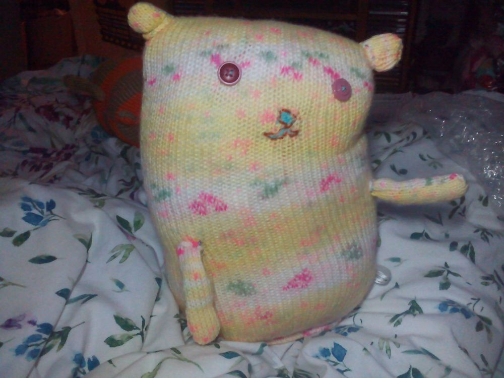 Yellow Floral Giant Cat Soft Toy -Pink Button Eyes