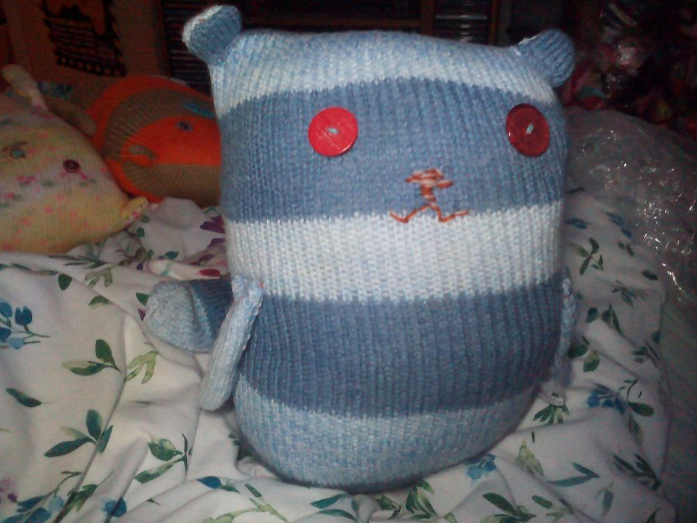 Light & Mid Blue Striped Giant Cat Soft Toy - Red Button Eyes