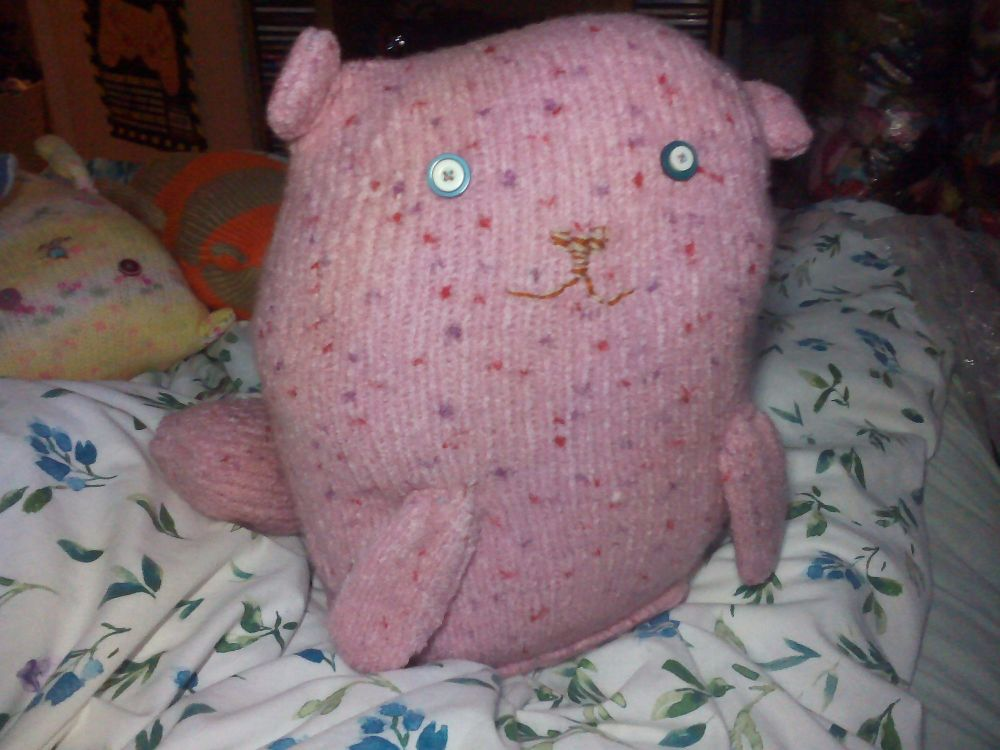 Oversized Pink Mottled Flannel Giant Cat Soft Toy - Dark Green & White Button Eyes