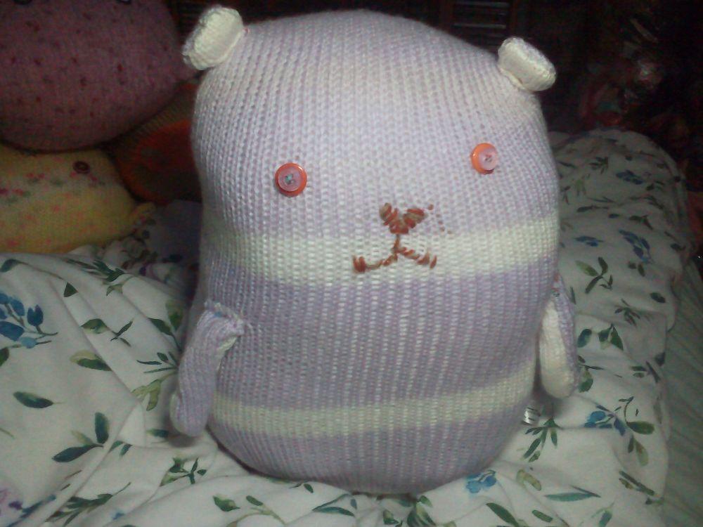 Purple & White Striped Giant Cat Soft Toy - Orange & White Button Eyes