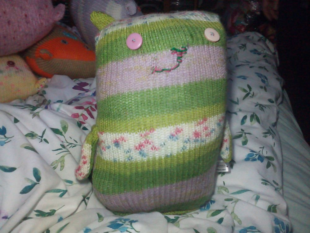 Green Floral Giant Cat Soft Toy - Odd Pink Button Eyes