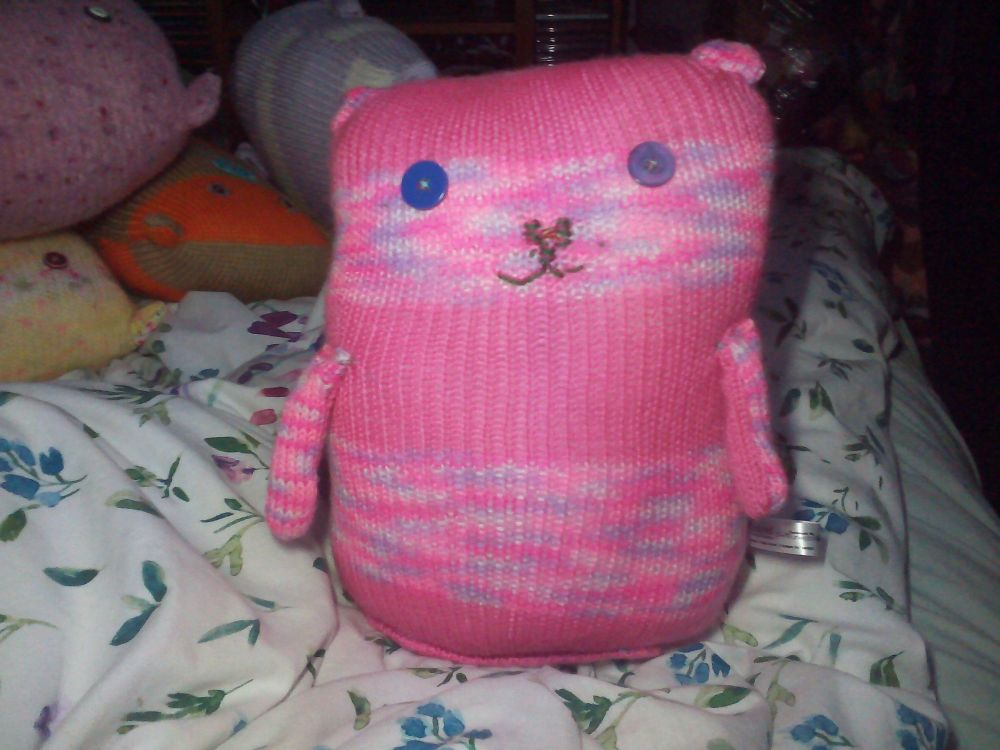 Pink Rainbow & Striped Giant Cat Soft Toy - Purple Button Eyes