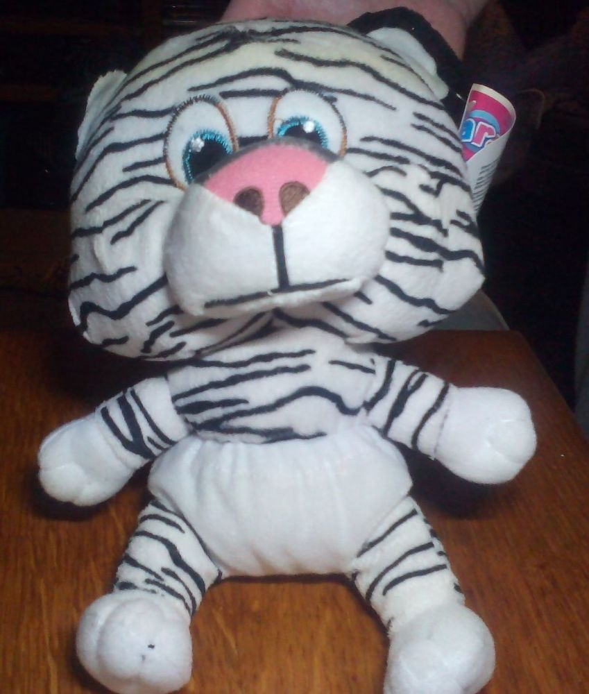 White Stripe Tiger with White Nappy - Character Co - Soft Toy - Misprint