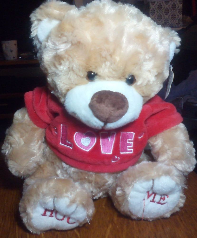 Medium Light Brown Bear with Red