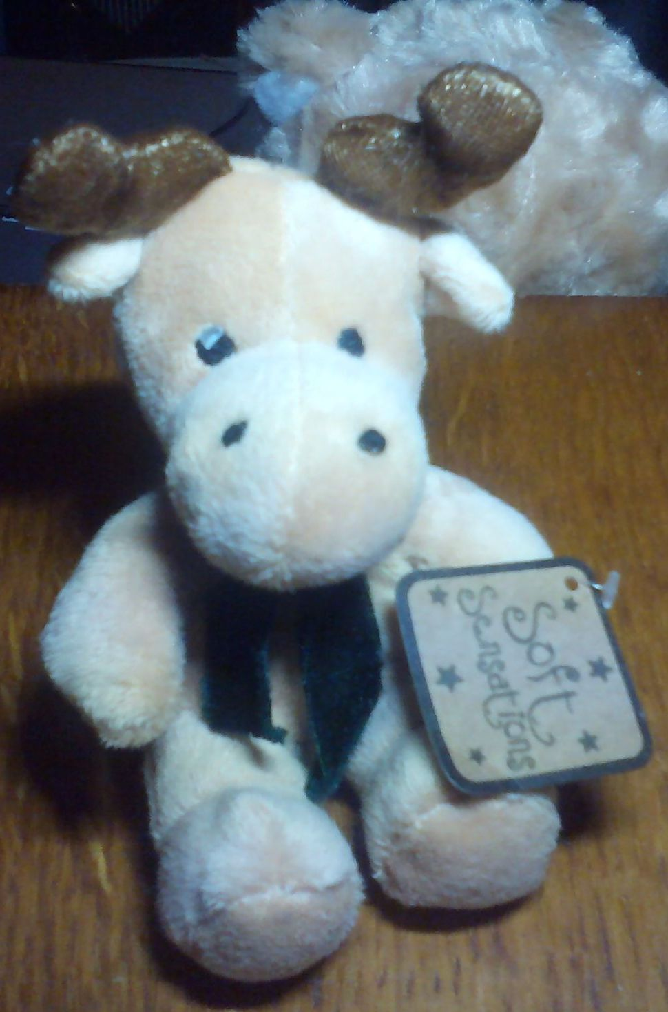 Mini Brown Reindeer with Green Scarf - Soft Sensations - Soft Toy