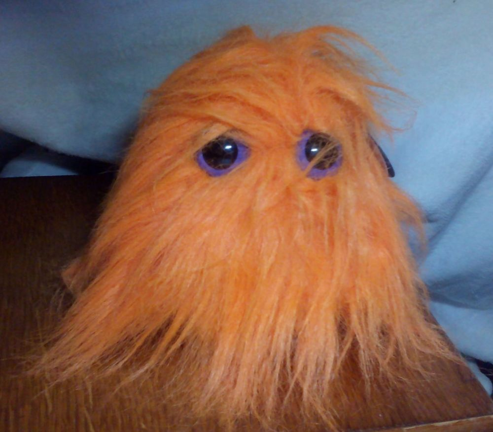 Vivid Orange Hairy Monster with Purple Eyes - Hairy Monsters - Soft Toy