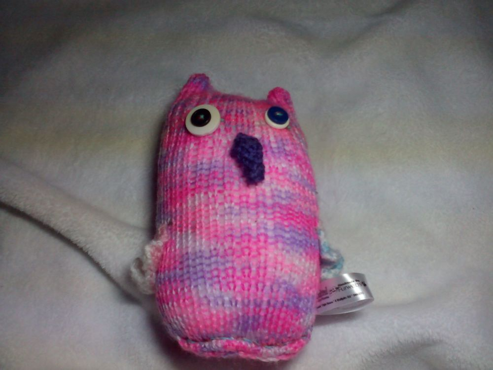 Pink And Purple Rainbow Midi Owl with Purple Beak