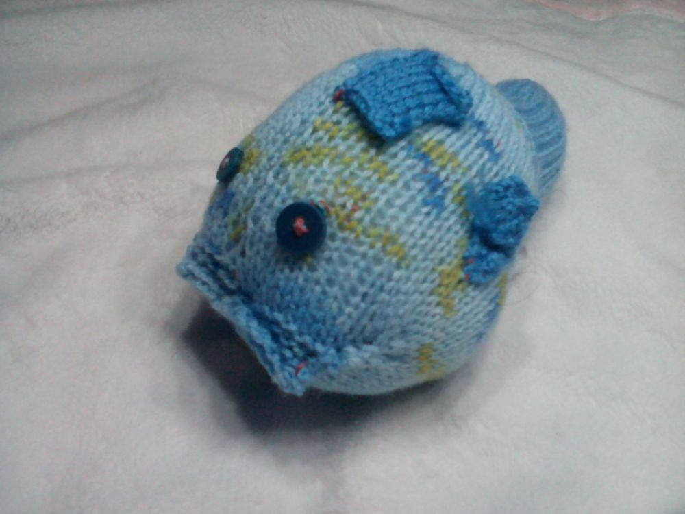 Floral Blue Midi Fish with Dark Turquoise Eyes Knitted Soft Toy