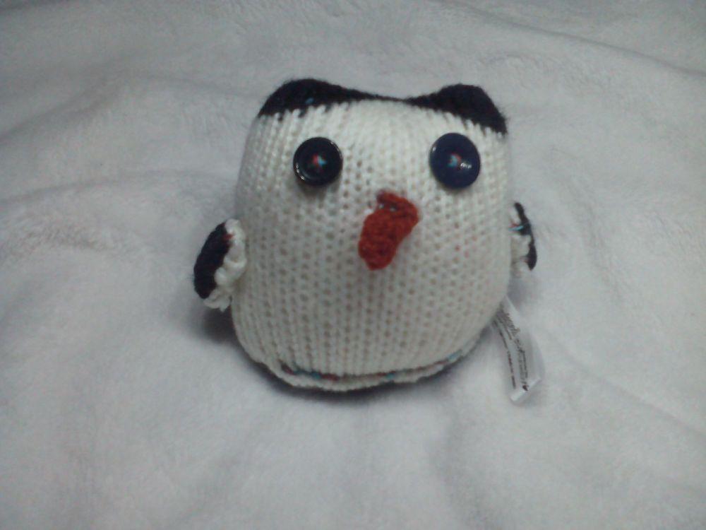 Baby Grey Black White Penguin - Dark Orange Beak - Black Eyes