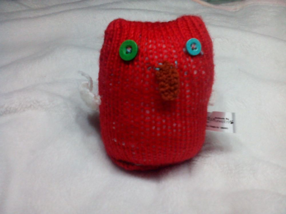 Oversized Baby Glittery Red Owl, White Wings with Green Eyes Mini Owl