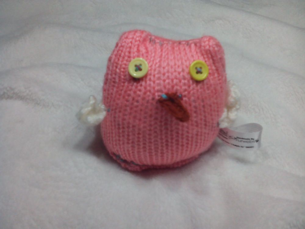 Baby Pink Owl, White Wings with Yellow Eyes Mini Owl