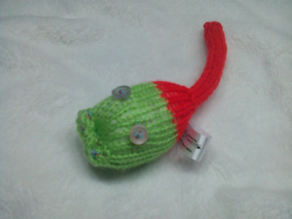 Green, Red Back Half with Clear Pink Eyes Mini Meeser
