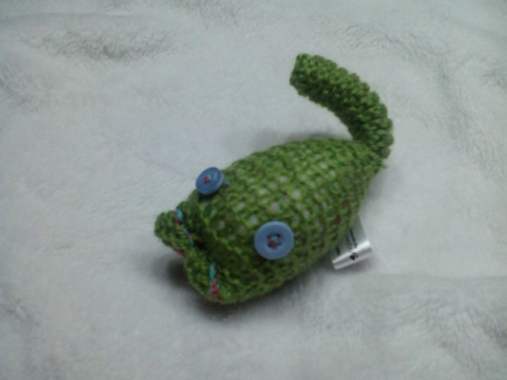 Inverse Knit Green with Pale Blue Eyes Mini Meeser