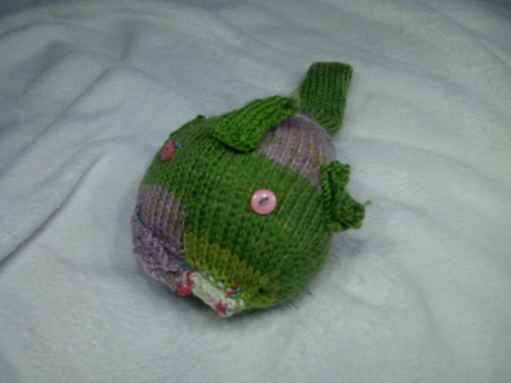 Floral Green Midi Fish with Pink Eyes Knitted Soft Toy