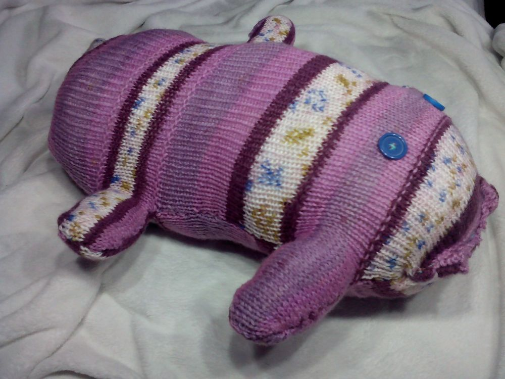 Purple Floral with Blue Eyes Giant Scuttlecat Knitted Soft Toy