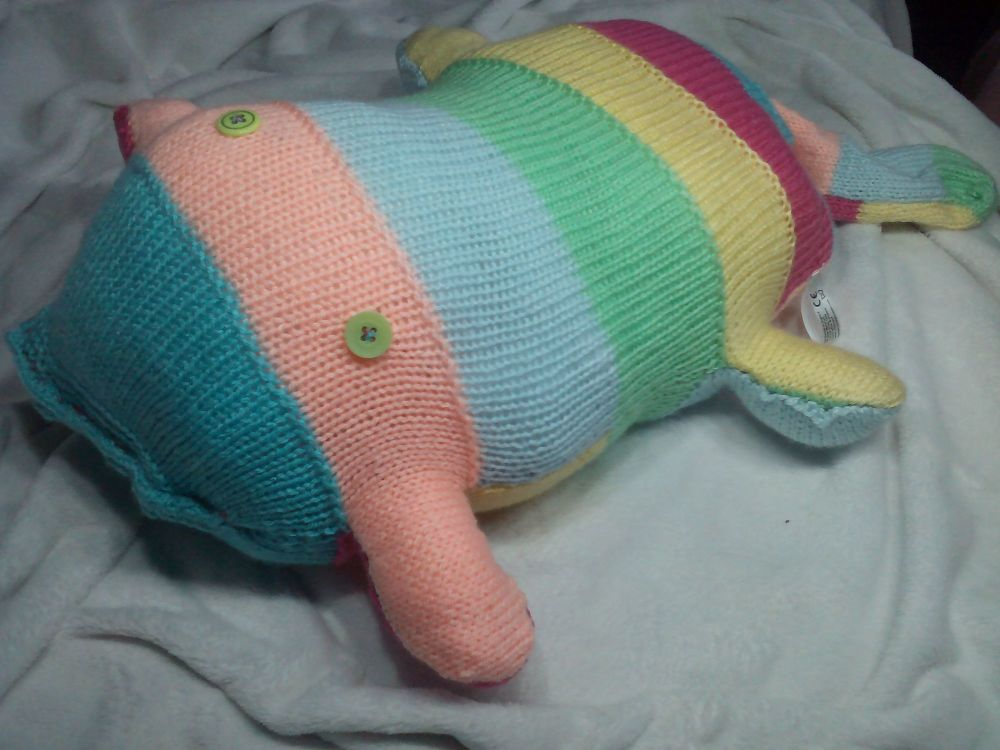 Pastel Striped Turquoise Peach Pale Blue Mint Lemon Fuchsia with Green Eyes Giant Scuttlecat Knitted Soft Toy