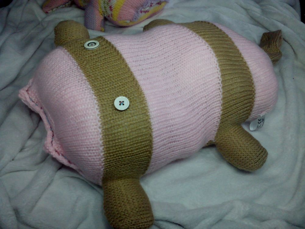 Pink / Brown Banded Striped with White / Black Eyes Giant Scuttlecat Knitted Soft Toy