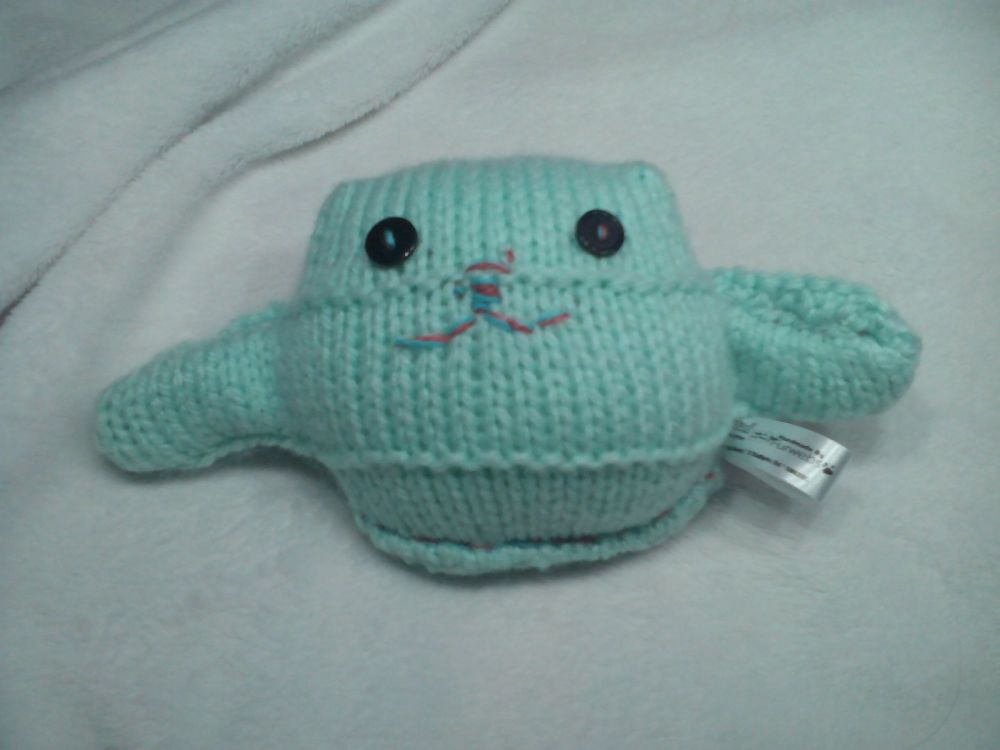 Mint Green Body with Black Eyes Mini Ted Knitted Soft Toy