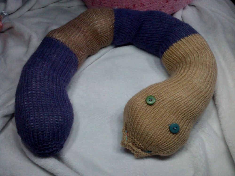 Purple / Brown Banded Giant Snake Knitted Soft Toy
