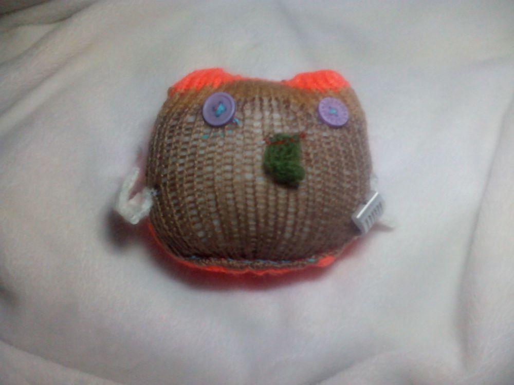 Baby Orange and Brown Owl - White Wings - Sage Beak - Lilac Eyes