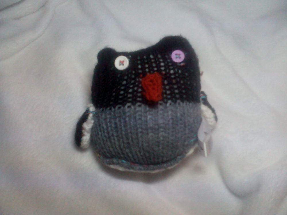 Baby Backwards Grey Black White Penguin - Burnt Brown Beak - White Lilac Eyes