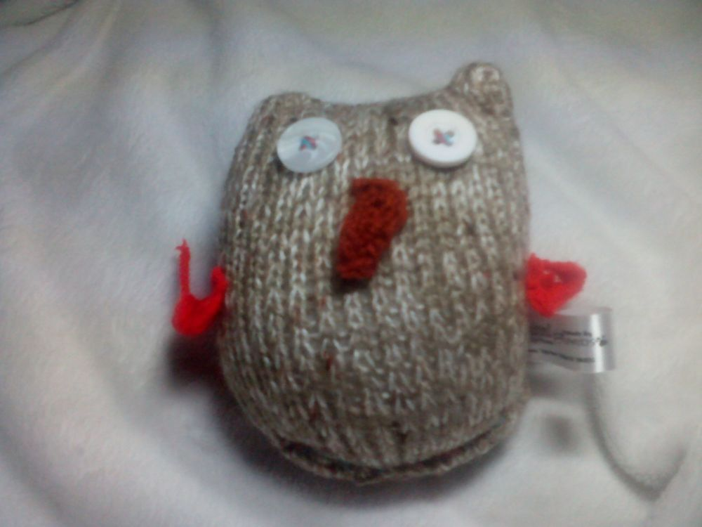 Baby Mottled Brown and White Owl, Red Wings with White / Pearly Eyes